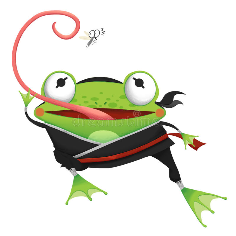 Δημιουργική απεικόνιση και καινοτόμος τέχνη: Βάτραχος Ninja - σχέδιο χαρακτήρα απεικόνιση αποθεμάτων