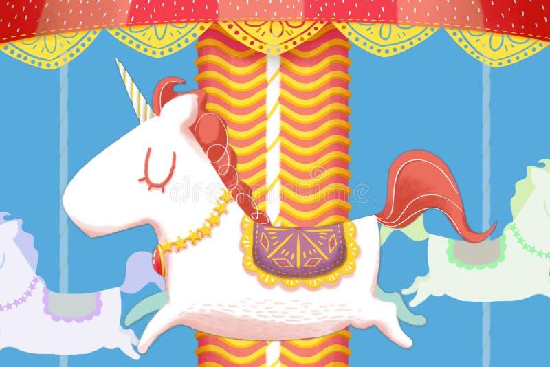 Δημιουργική απεικόνιση και καινοτόμος τέχνη: Ο μονόκερος εύθυμος πηγαίνει γύρω από τα ξύλινα άλογα διανυσματική απεικόνιση