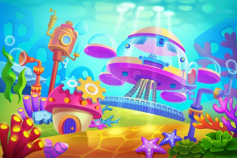 Δημιουργική απεικόνιση και καινοτόμος τέχνη: Υποβρύχια υποβρύχια βάση ελεύθερη απεικόνιση δικαιώματος