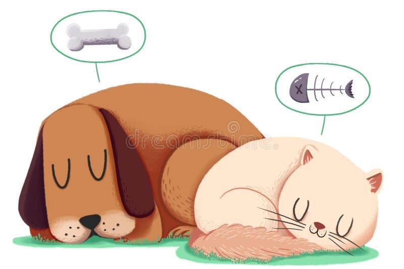 Δημιουργική απεικόνιση και καινοτόμος τέχνη: Ύπνος σκυλιών και γατών από κοινού διανυσματική απεικόνιση