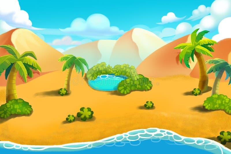 Δημιουργική απεικόνιση και καινοτόμος τέχνη: Hill ερήμων, όαση ερήμων απεικόνιση αποθεμάτων