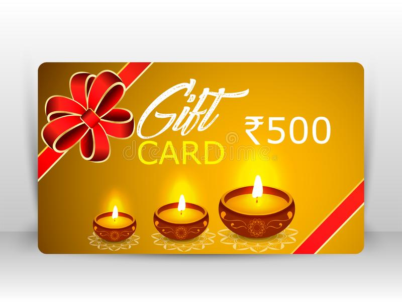 Δημιουργική απεικόνιση του diya καψίματος με τα πυροτεχνήματα, κάρτα δώρων diwali διανυσματική απεικόνιση