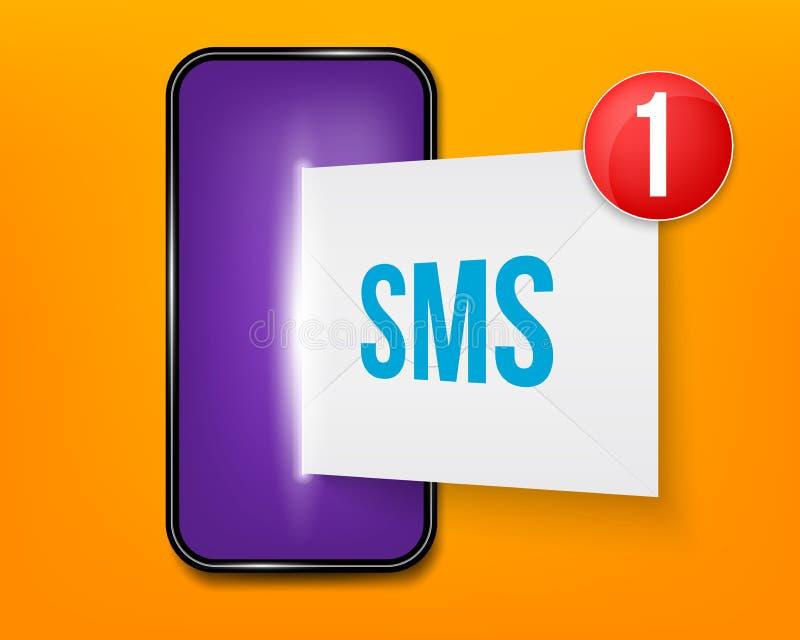 Δημιουργική απεικόνιση των νέων sms ή ανακοίνωση ηλεκτρονικού ταχυδρομείου στο κινητό τηλέφωνο στο υπόβαθρο Αδιάβαστο μήνυμα φακέ διανυσματική απεικόνιση