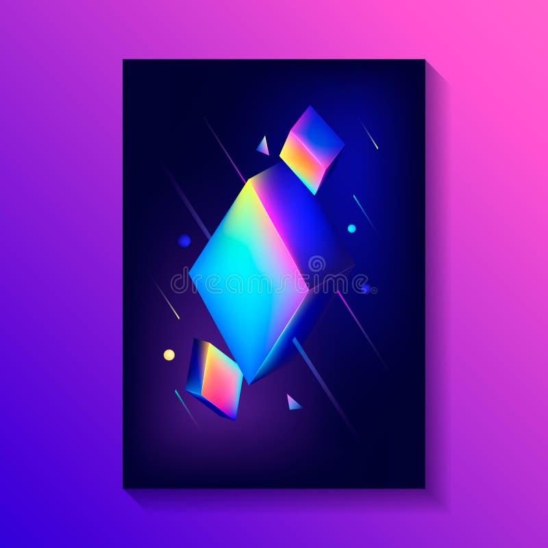Δημιουργική αφίσα σχεδίου με τη σύνθεση των τρισδιάστατων κύβων ελεύθερη απεικόνιση δικαιώματος