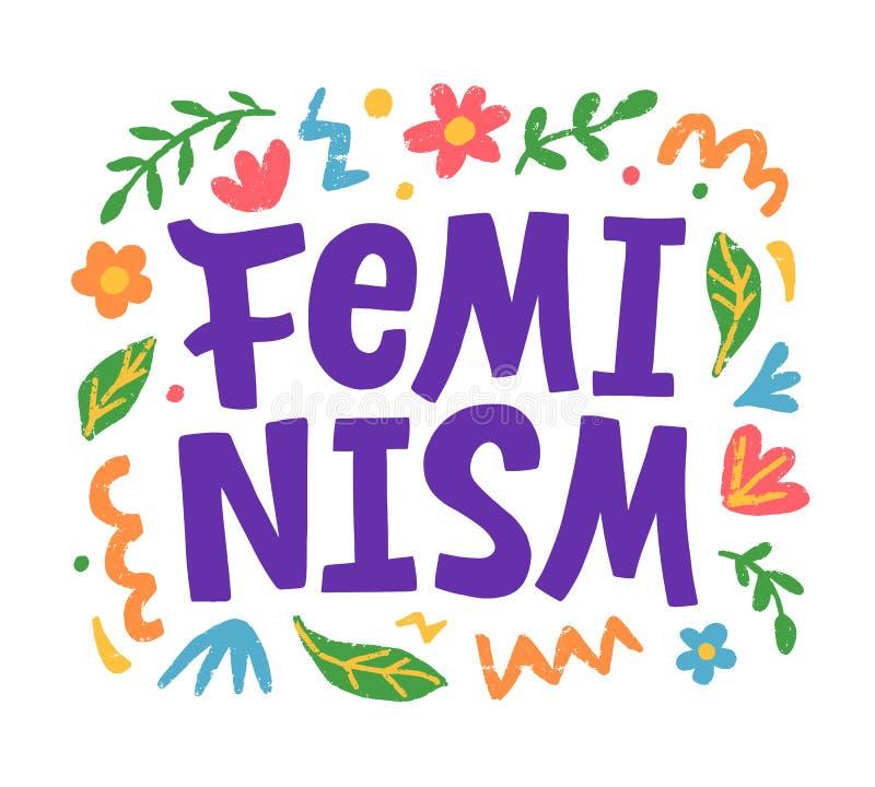 Δημιουργική αφίσα φεμινισμού, τυπωμένη ύλη μπλουζών, έμβλημα αυτοκόλλητων ετικεττών διανυσματική απεικόνιση