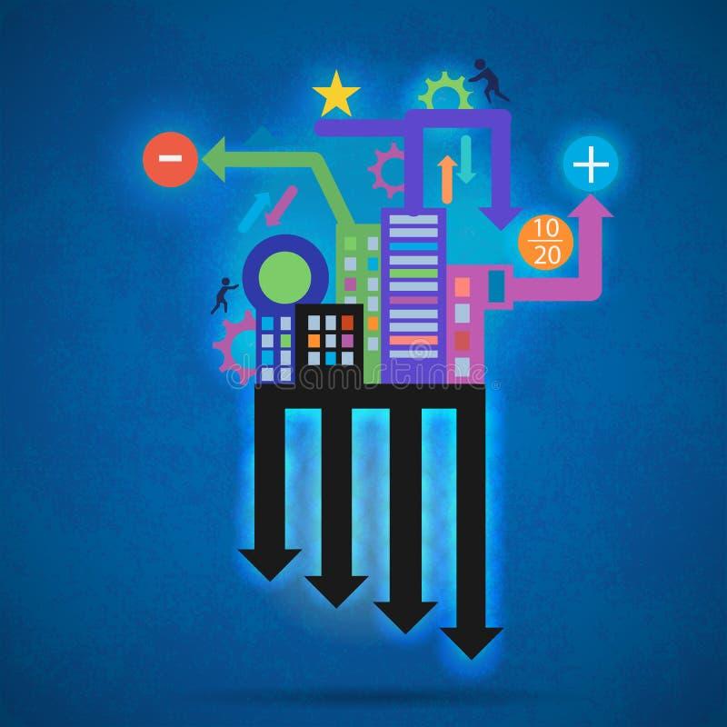 Δημιουργική αφηρημένη σύγχρονη δημιουργική διανυσματική γραφική παράσταση πληροφοριών ελεύθερη απεικόνιση δικαιώματος