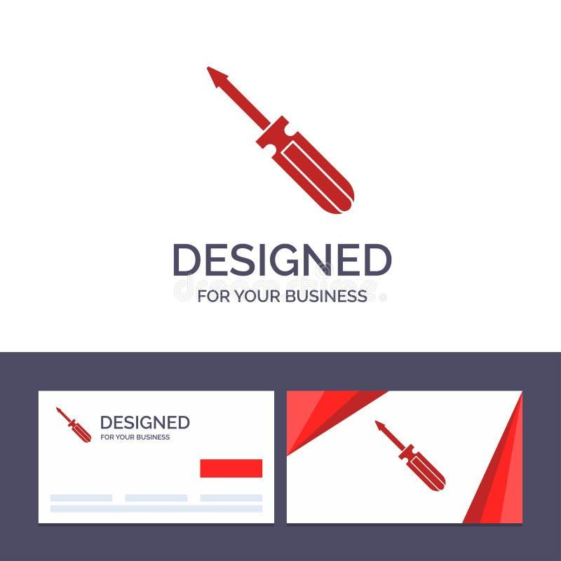 Δημιουργική βίδα προτύπων επαγγελματικών καρτών και λογότυπων, οδηγός, εργαλείο, επισκευή, διανυσματική απεικόνιση εργαλείων ελεύθερη απεικόνιση δικαιώματος