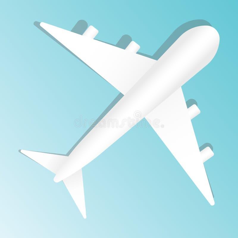 Δημιουργική διανυσματική απεικόνιση του αεροπλάνου που απομονώνεται στο μπλε υπόβαθρο Τοπ αεροπλάνο άποψης Σχέδιο τέχνης ταξιδιού διανυσματική απεικόνιση