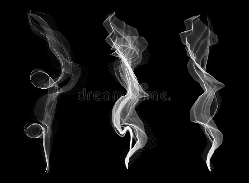 Δημιουργική διανυσματική απεικόνιση του λεπτού άσπρου συνόλου σύστασης κυμάτων καπνού τσιγάρων που απομονώνεται στο διαφανές υπόβ διανυσματική απεικόνιση