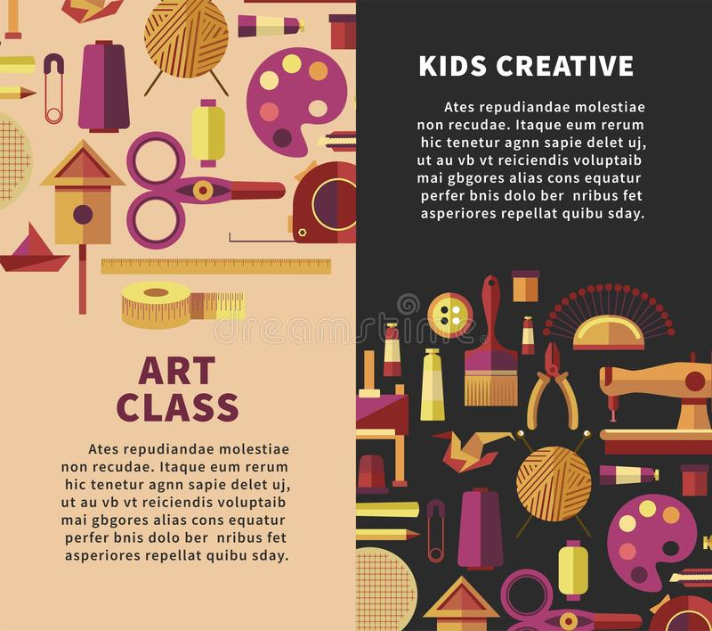 Δημιουργική διανυσματική αφίσα τέχνης για τα προγράμματα παιδιών DIY ή τη βιοτεχνία και τις χειροποίητες κατηγορίες εργαστηρίων τ ελεύθερη απεικόνιση δικαιώματος