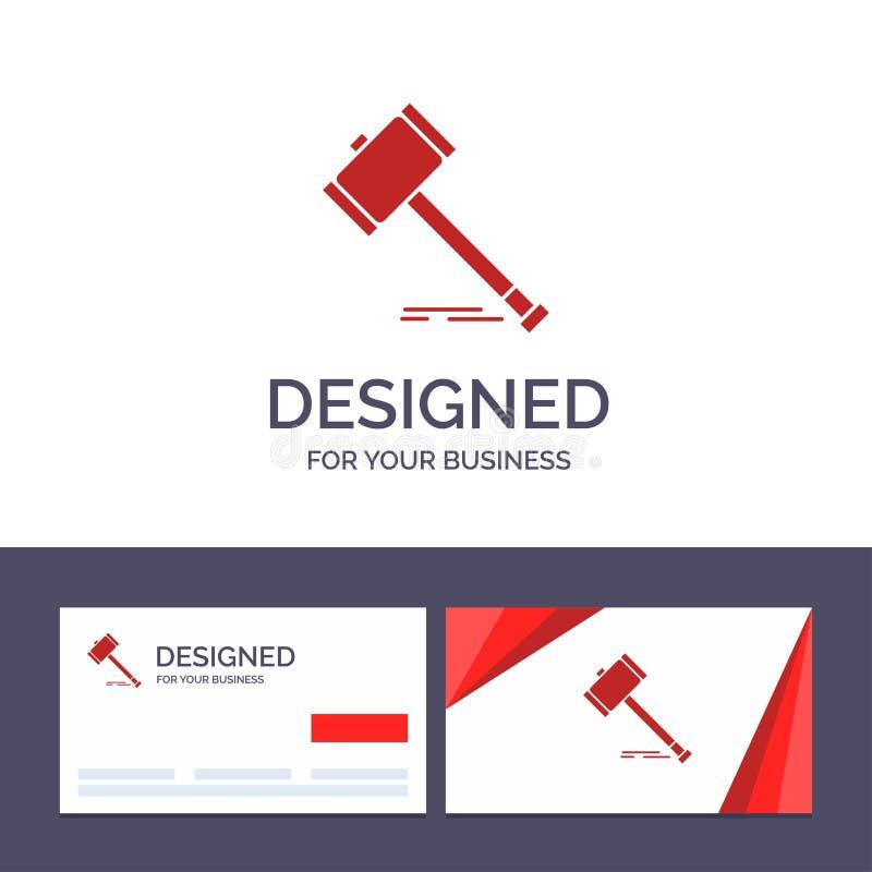 Δημιουργική δράση προτύπων επαγγελματικών καρτών και λογότυπων, δημοπρασία, δικαστήριο, Gavel, σφυρί, νόμος, νομική διανυσματική  διανυσματική απεικόνιση