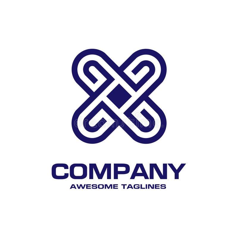 Δημιουργική επιστολή Χ αλφαβητικό λογότυπο απεικόνιση αποθεμάτων