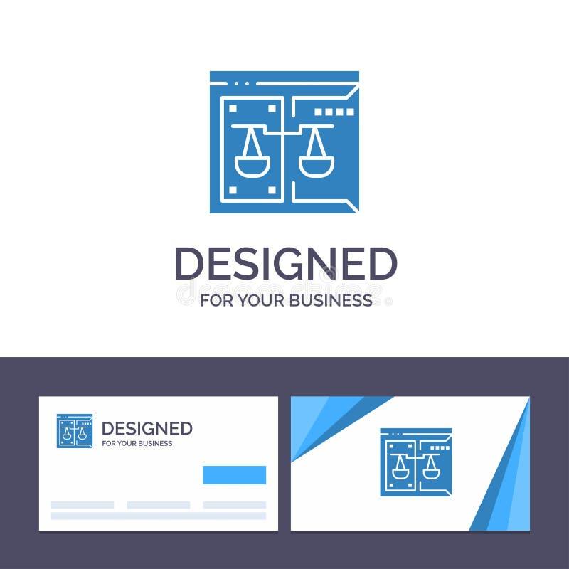 Δημιουργική επιχείρηση προτύπων επαγγελματικών καρτών και λογότυπων, πνευματικά δικαιώματα, δικαστήριο, ψηφιακός, διανυσματική απ ελεύθερη απεικόνιση δικαιώματος
