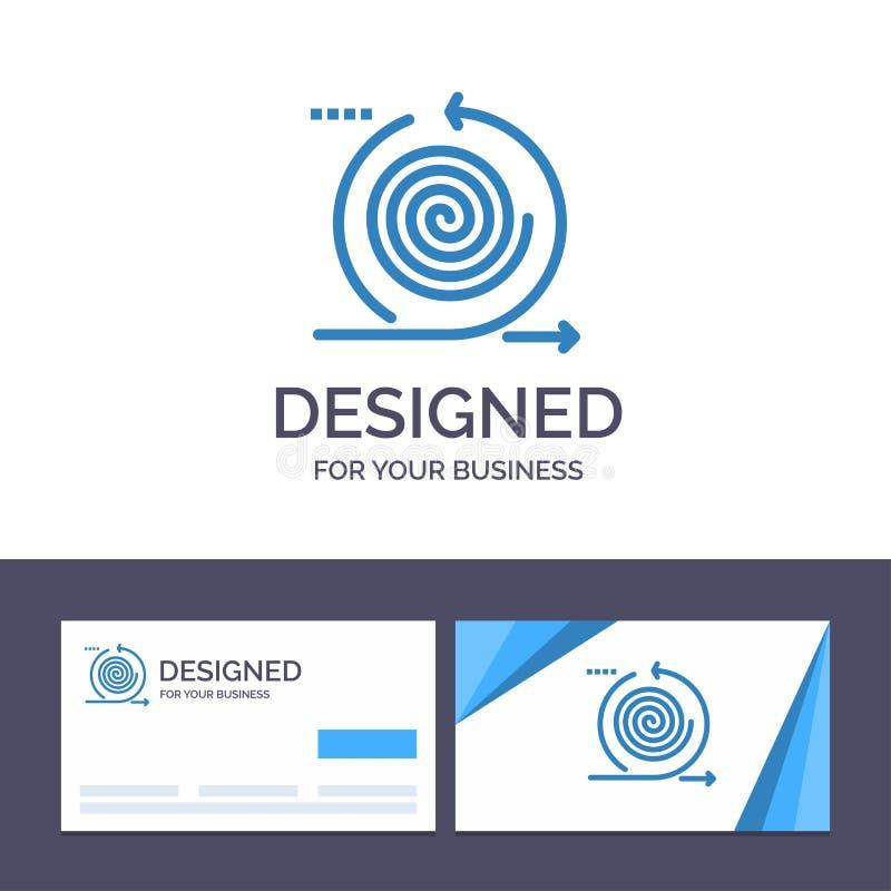 Δημιουργική επιχείρηση προτύπων επαγγελματικών καρτών και λογότυπων, κύκλοι, επανάληψη, διαχείριση, διανυσματική απεικόνιση προϊό απεικόνιση αποθεμάτων