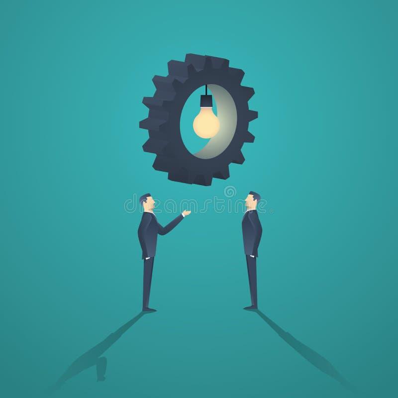 Δημιουργική επιχειρησιακή έννοια λύσης με τον επιχειρηματία δύο και το εργαλείο lightbulb απεικόνιση αποθεμάτων
