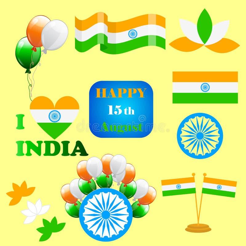 Δημιουργική διανυσματική απεικόνιση της Ινδίας ημέρας της ανεξαρτησίας στο χρώμα εθνικών σημαιών διανυσματική απεικόνιση
