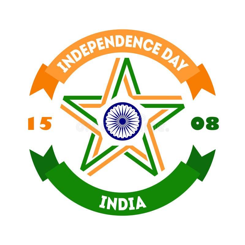 Δημιουργική ινδική έννοια ημέρας της ανεξαρτησίας με το αστέρι φιαγμένη από trico ελεύθερη απεικόνιση δικαιώματος