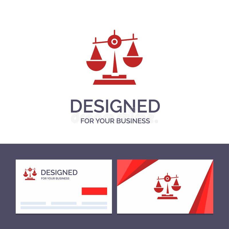 Δημιουργική ισορροπία προτύπων επαγγελματικών καρτών και λογότυπων, δικαστήριο, δικαστής, δικαιοσύνη, νόμος, νομικός, κλίμακα, δι διανυσματική απεικόνιση
