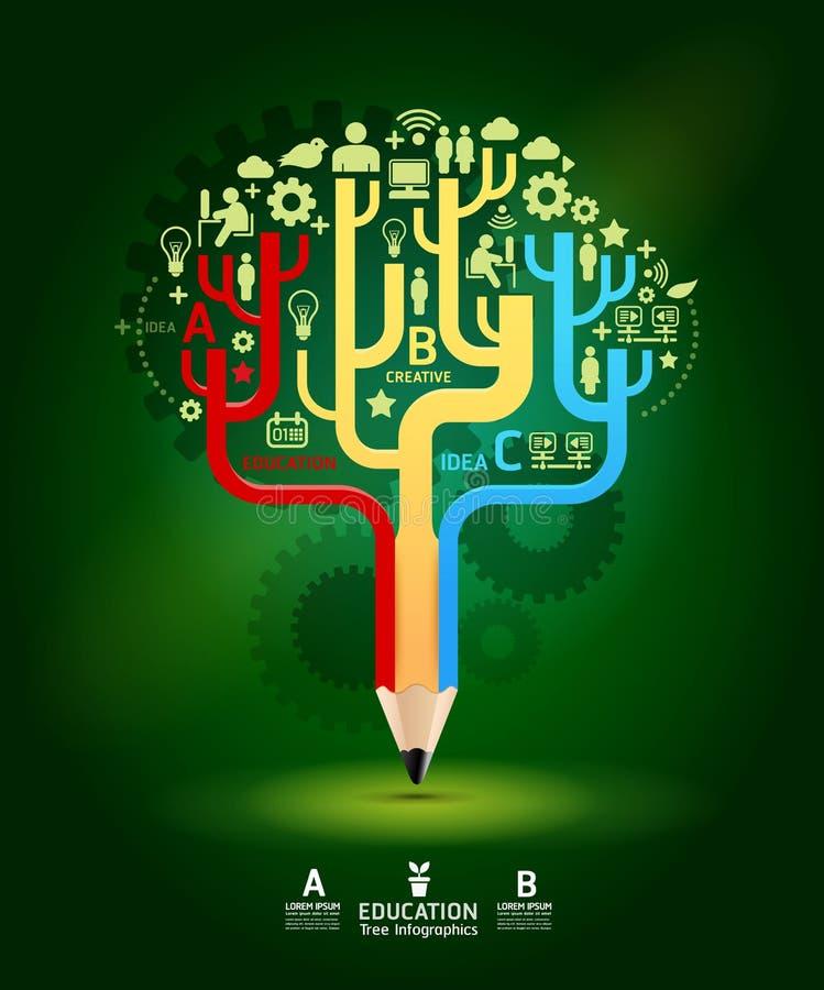 Δημιουργική ιδέα δέντρων αύξησης έννοιας μολυβιών, διανυσματική απεικόνιση ελεύθερη απεικόνιση δικαιώματος