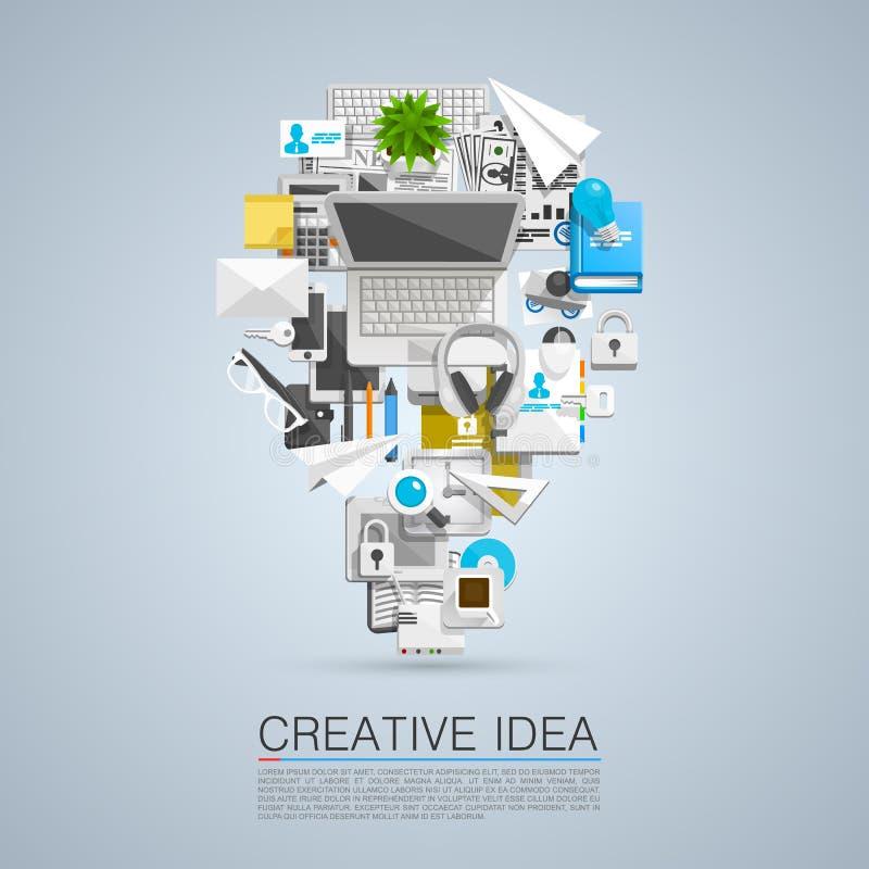 Δημιουργική ιδέα των επίπεδων εικονιδίων κολάζ διανυσματική απεικόνιση