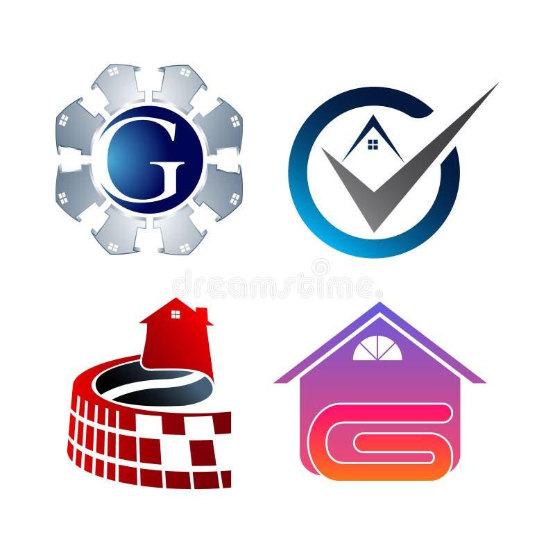 Δημιουργική καθορισμένη συλλογή λογότυπων ακίνητων περιουσιών Διανυσματικό σχέδιο λογότυπων κτηρίου και οικοδόμησης διανυσματική απεικόνιση