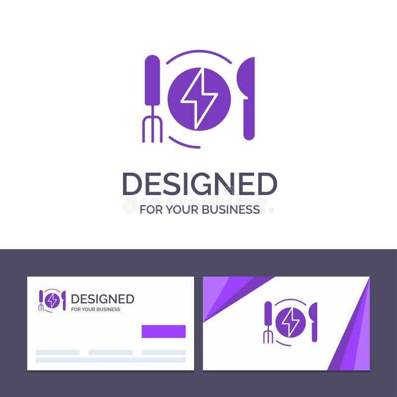 Δημιουργική κατανάλωση προτύπων επαγγελματικών καρτών και λογότυπων, ενέργεια, γεύμα, διανυσματική απεικόνιση ξενοδοχείων ελεύθερη απεικόνιση δικαιώματος