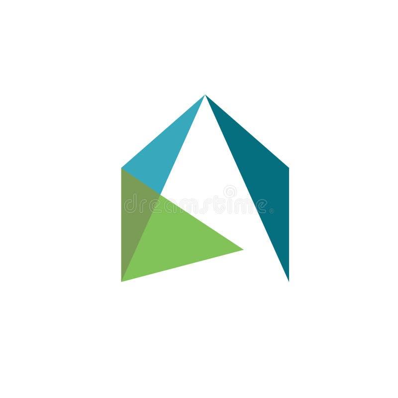 Δημιουργική λογότυπο ακίνητων περιουσιών, ιδιοκτησία και διάνυσμα σχεδίου λογότυπων κατασκευής ελεύθερη απεικόνιση δικαιώματος