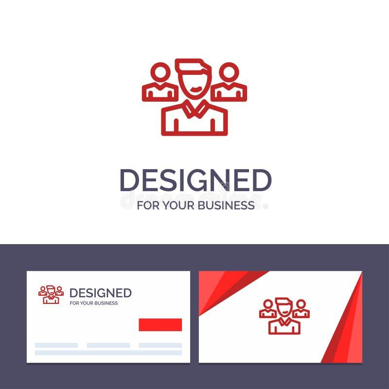 Δημιουργική ομάδα προτύπων επαγγελματικών καρτών και λογότυπων, χρήστης, διευθυντής, διανυσματική απεικόνιση ομάδας διανυσματική απεικόνιση