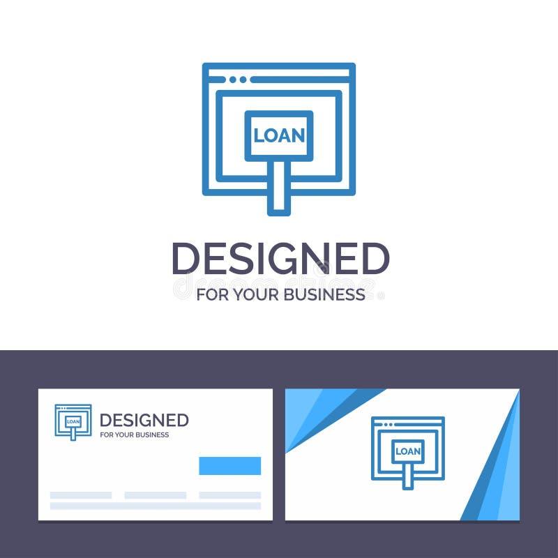 Δημιουργική πίστωση προτύπων επαγγελματικών καρτών και λογότυπων, Διαδίκτυο, δάνειο, χρήματα, σε απευθείας σύνδεση διανυσματική α διανυσματική απεικόνιση