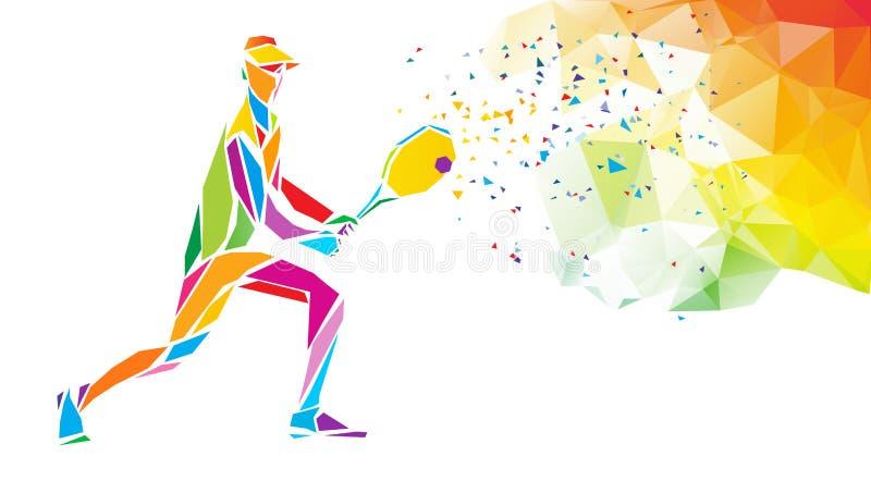 Δημιουργική σιλουέτα του τενιστή Εικόνα αθλητικού φορέα ρακέ ή πρότυπο πανό σε μοντέρνο αφηρημένο χρώμα απεικόνιση αποθεμάτων