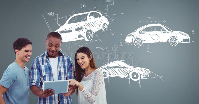 Δημιουργική συνεδρίαση του σχεδίου με το σκίτσο του σχεδίου χεριών αυτοκινήτων στοκ εικόνες