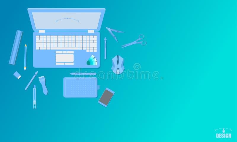 Δημιουργική τέχνης σχεδίου στούντιο διανυσματική απεικόνιση eps10 τόνου τοπ έννοιας άποψης μπλε απεικόνιση αποθεμάτων