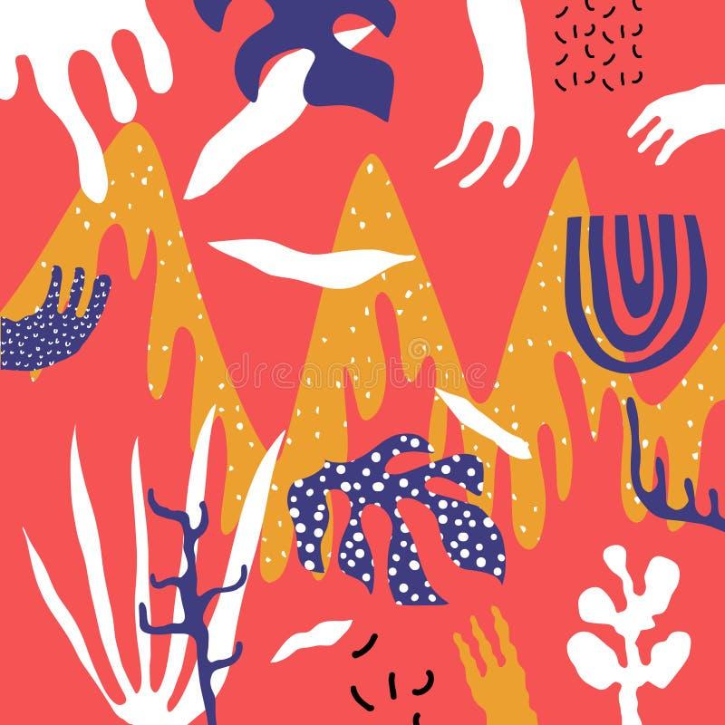 Δημιουργική τέχνη κολάζ doodle με τις μορφές εγκαταστάσεων και κοραλλιών και τις διαφορετικές συστάσεις r ελεύθερη απεικόνιση δικαιώματος