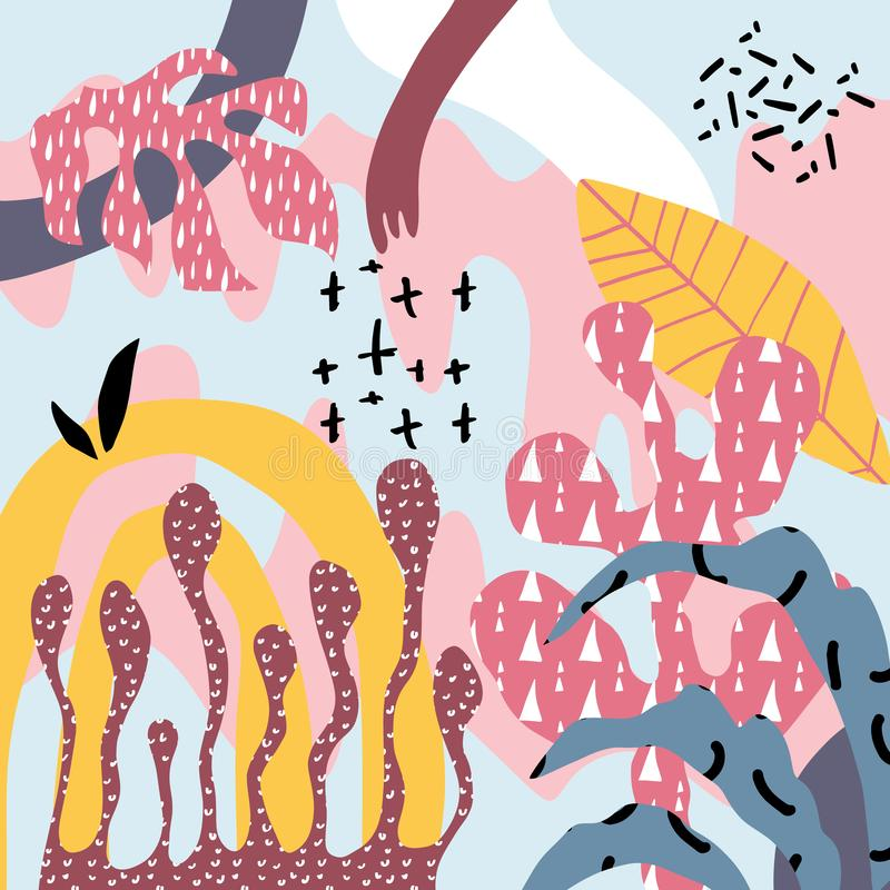 Δημιουργική τέχνη κολάζ doodle με τις μορφές εγκαταστάσεων και κοραλλιών και τις διαφορετικές συστάσεις r απεικόνιση αποθεμάτων