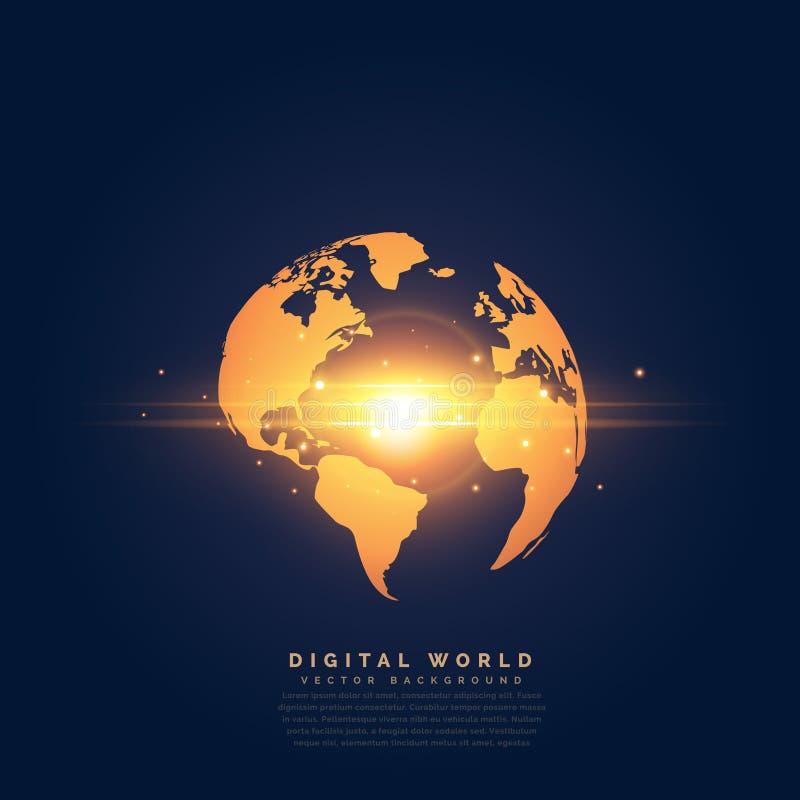 Δημιουργική χρυσή γη με την κεντρική ελαφριά επίδραση διανυσματική απεικόνιση
