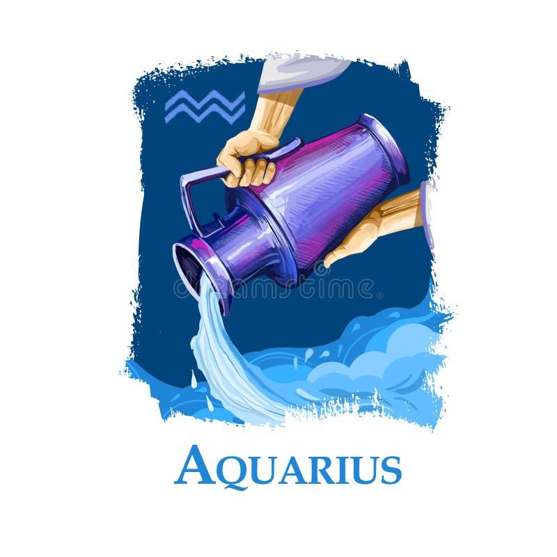 Δημιουργική ψηφιακή απεικόνιση του αστρολογικού σημαδιού Υδροχόος Ενδέκατο δώδεκα σημαδιών zodiac Στοιχείο αέρα ωροσκοπίων ελεύθερη απεικόνιση δικαιώματος