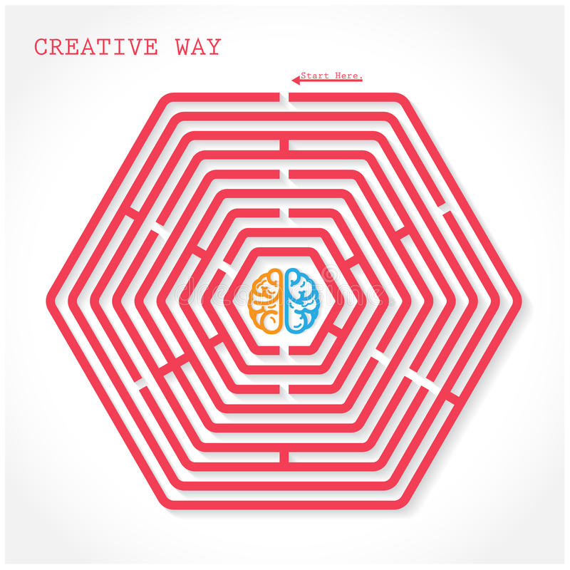 Δημιουργική hexagon έννοια τρόπων λαβυρίνθου διανυσματική απεικόνιση