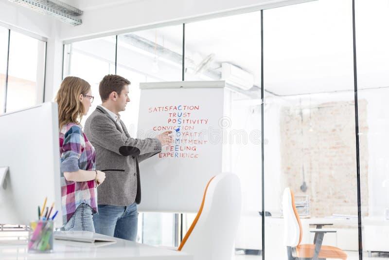 Δημιουργικοί συνάδελφοι που συζητούν πέρα από το γρίφο σταυρόλεξων στην αρχή στοκ εικόνα