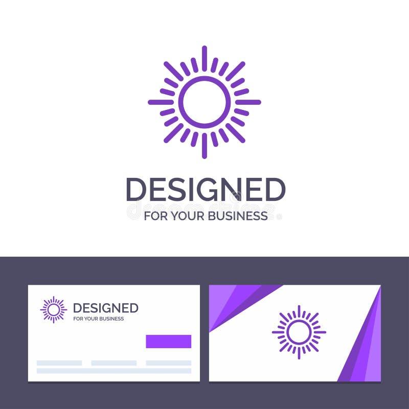 Δημιουργικός ήλιος προτύπων επαγγελματικών καρτών και λογότυπων, ανατολή, διανυσματική απεικόνιση ηλιοβασιλέματος ελεύθερη απεικόνιση δικαιώματος