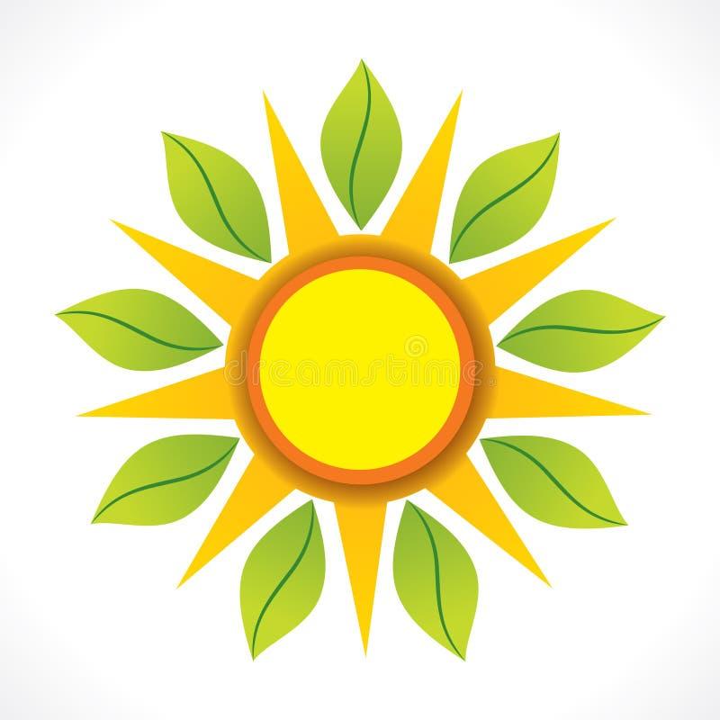 Δημιουργικός ήλιος και πράσινη έννοια σχεδίου εικονιδίων φύλλων απεικόνιση αποθεμάτων