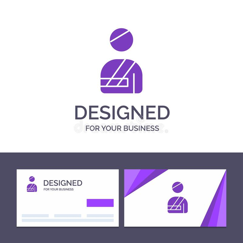 Δημιουργικός ασθενής προτύπων επαγγελματικών καρτών και λογότυπων, χρήστης, που τραυματίζεται, διανυσματική απεικόνιση νοσοκομείω απεικόνιση αποθεμάτων
