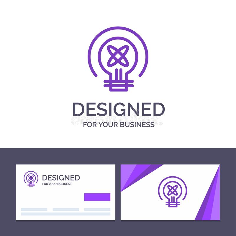 Δημιουργικός βολβός προτύπων επαγγελματικών καρτών και λογότυπων, φως, ιδέα, διανυσματική απεικόνιση εκπαίδευσης ελεύθερη απεικόνιση δικαιώματος