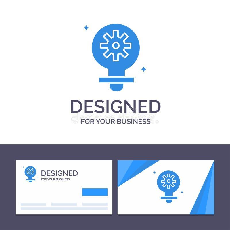 Δημιουργικός βολβός προτύπων επαγγελματικών καρτών και λογότυπων, φως, ρύθμιση, διανυσματική απεικόνιση εργαλείων απεικόνιση αποθεμάτων