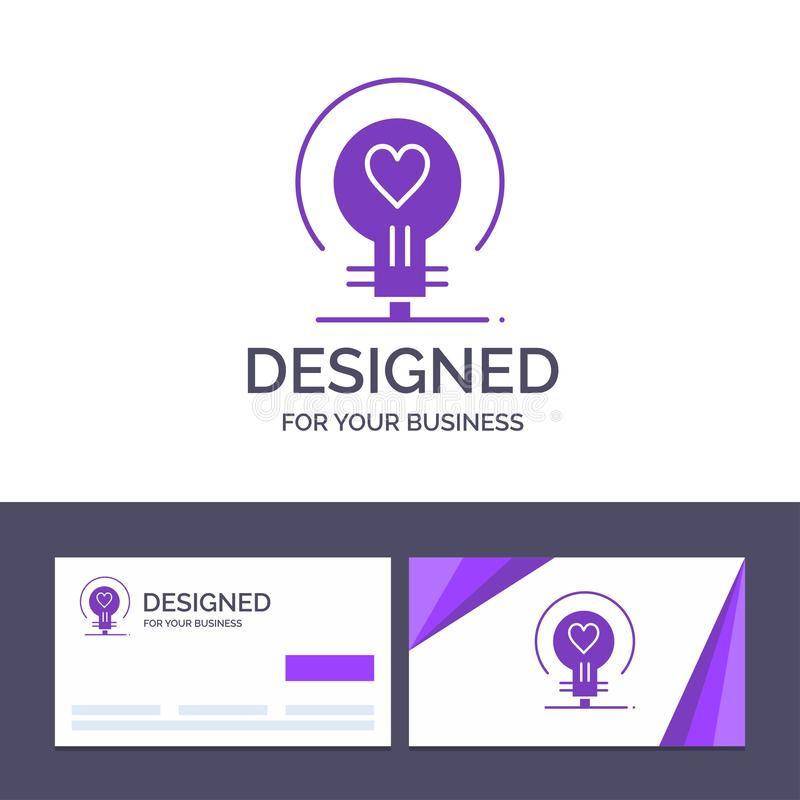 Δημιουργικός βολβός προτύπων επαγγελματικών καρτών και λογότυπων, αγάπη, καρδιά, γαμήλια διανυσματική απεικόνιση διανυσματική απεικόνιση