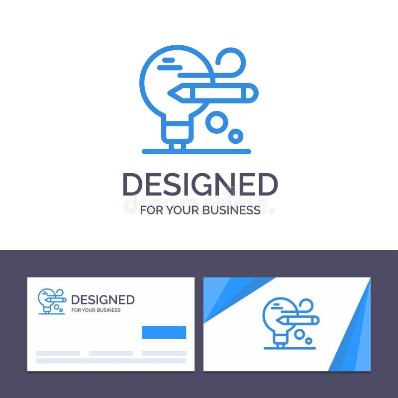 Δημιουργικός βολβός προτύπων επαγγελματικών καρτών και λογότυπων, μολύβι, διανυσματική απεικόνιση εκπαίδευσης ελεύθερη απεικόνιση δικαιώματος