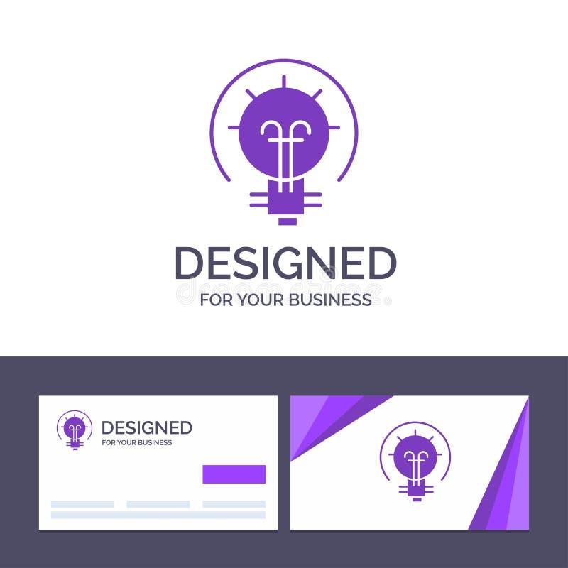 Δημιουργικός βολβός προτύπων επαγγελματικών καρτών και λογότυπων, ενέργεια, ιδέα, διανυσματική απεικόνιση λύσης απεικόνιση αποθεμάτων