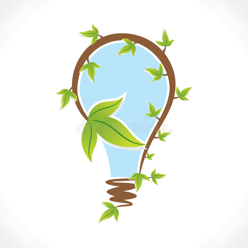 Δημιουργικός βολβός eco ή φυσική έννοια σχεδίου διανυσματική απεικόνιση