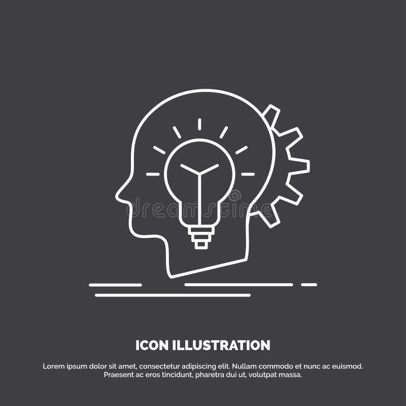 δημιουργικός, δημιουργικότητα, κεφάλι, ιδέα, εικονίδιο σκέψης Διανυσματικό σύμβολο γραμμών για UI και UX, τον ιστοχώρο ή την κινη διανυσματική απεικόνιση