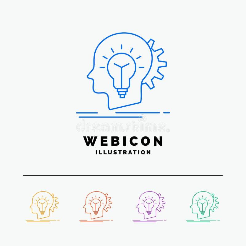 δημιουργικός, δημιουργικότητα, κεφάλι, ιδέα, πρότυπο εικονιδίων Ιστού γραμμών χρώματος 5 σκέψης που απομονώνεται στο λευκό r διανυσματική απεικόνιση