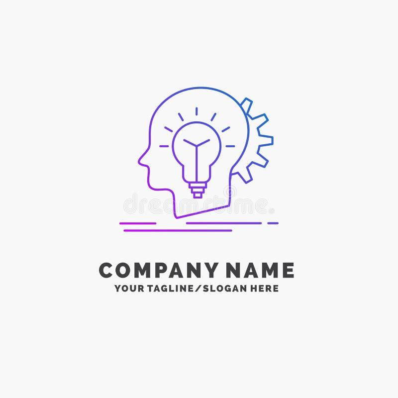 δημιουργικός, δημιουργικότητα, κεφάλι, ιδέα, πρότυπο επιχειρησιακών λογότυπων σκέψης πορφυρό r διανυσματική απεικόνιση